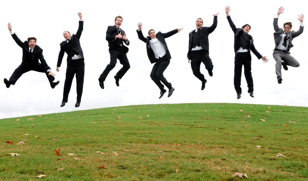 Kyle &amp; his groomsmen take a leap before his wedding in Huntsville, Alabama.