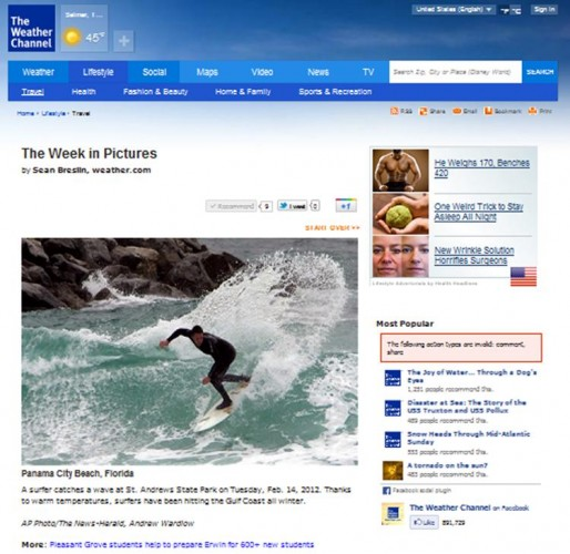 Here is a screen shot of my photo from The Weather Channel's website.