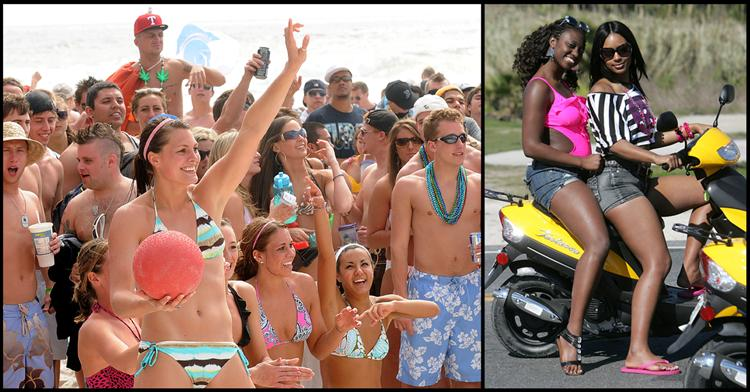 Left, Spring Breakers play a game of dodgeball in Panama City Beach. At right, Spring Breakers pose for a photo while sitting in traffic.
