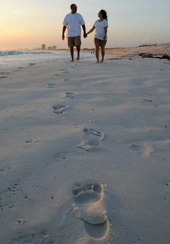 Randy and Leanne enjoy a quiet stroll during their photo session at St. Andrews State Park in Panama City Beach.